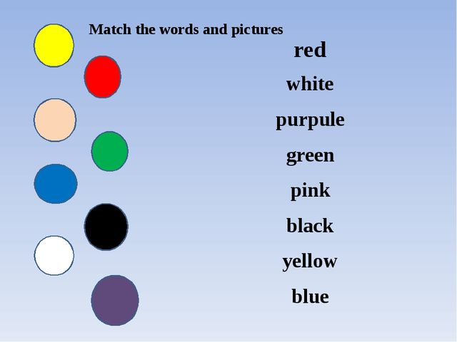 Match the words and pictures red white purpule green pink black yellow blue