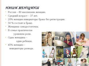 НАШИ ЖЕНЩИНЫ Россия – 80 миллионов женщин. Средний возраст – 37 лет. 20% женщ