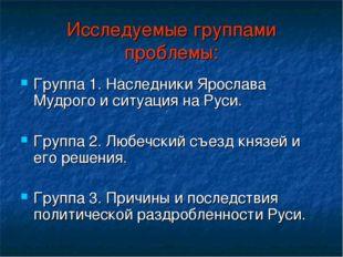 Исследуемые группами проблемы: Группа 1. Наследники Ярослава Мудрого и ситуац
