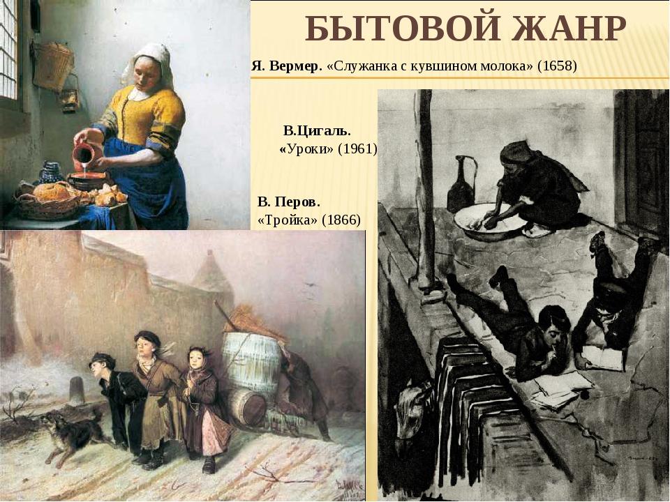 БЫТОВОЙ ЖАНР В. Перов. «Тройка» (1866) Я. Вермер. «Служанка с кувшином молок...