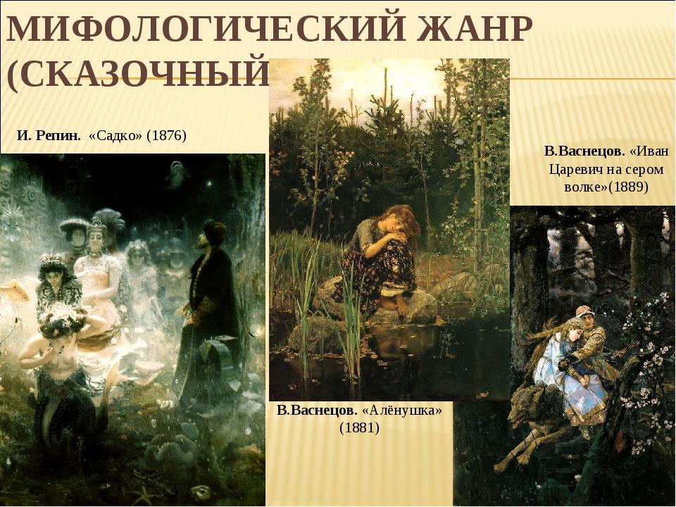 МИФОЛОГИЧЕСКИЙ ЖАНР (СКАЗОЧНЫЙ) В.Васнецов. «Алёнушка» (1881) В.Васнецов. «Ив...