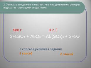 2. Записать все данные и неизвестные над уравнением реакции, над соответствую