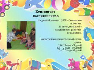 Контингент воспитанников На данный момент ЦИПР «Солнышко» посещает 36 детей,
