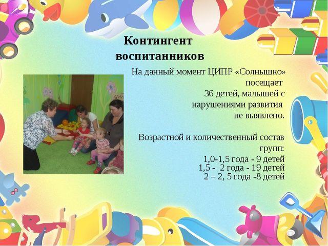 Контингент воспитанников На данный момент ЦИПР «Солнышко» посещает 36 детей,...