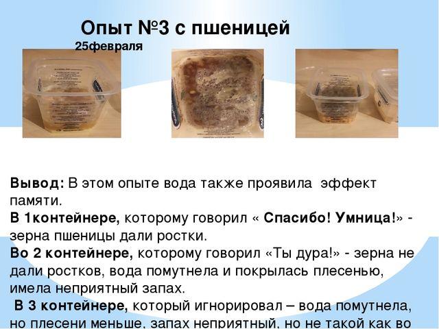 Опыт №3 с пшеницей 25февраля Вывод: В этом опыте вода также проявила эффект...