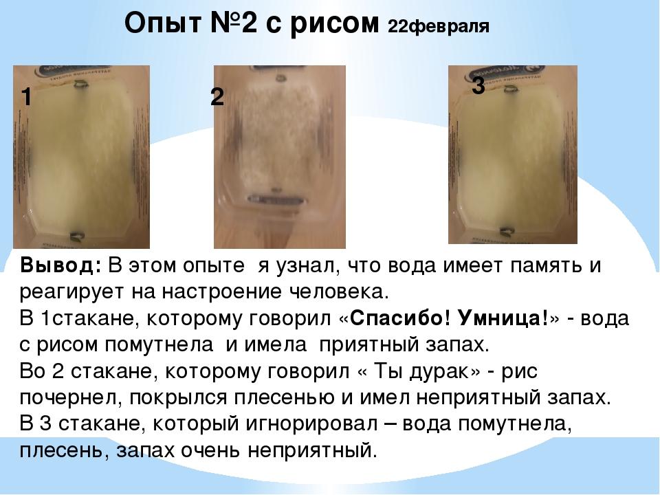 1 2 3 Опыт №2 с рисом 22февраля Вывод: В этом опыте я узнал, что вода имеет п...