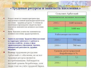 «Трудовые ресурсы и занятость населения.» Возраст является главным критерием