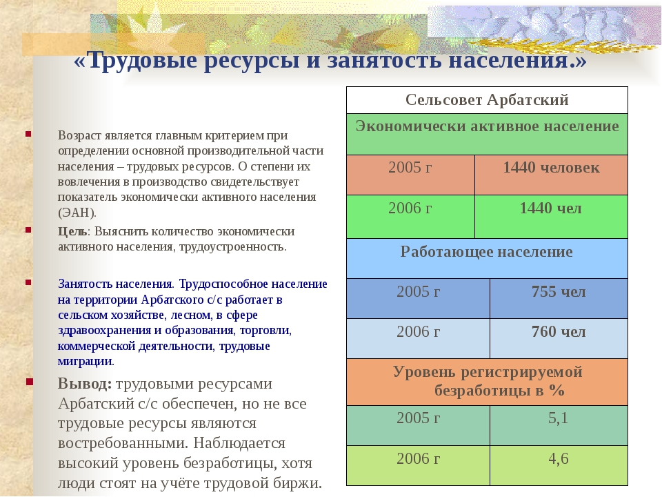 «Трудовые ресурсы и занятость населения.» Возраст является главным критерием...