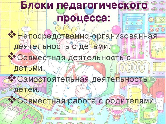 Блоки педагогического процесса: Непосредственно-организованная деятельность с...