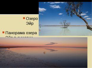 Панорама озера Эйр в сумерки Озеро Эйр
