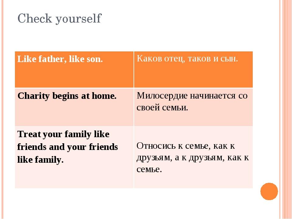 Check yourself Like father, like son. Каков отец, таков и сын. Charitybeginsa...