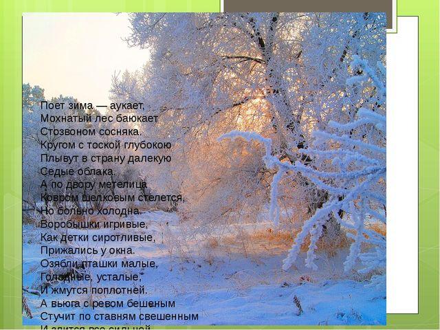 Поет зима — аукает, Мохнатый лес баюкает Стозвоном сосняка. Кругом с тоской...