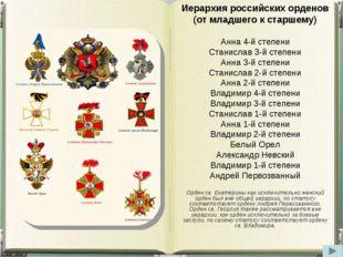 Иерархия российских орденов (от младшего к старшему) Анна 4‑й степени Станисл