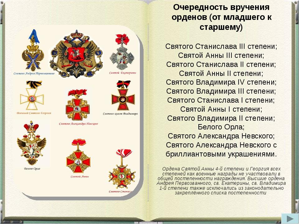 Очередность вручения орденов (от младшего к старшему) Святого Станислава III...