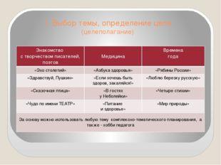 I. Выбор темы, определение цели (целеполагание) Знакомство с творчеством писа