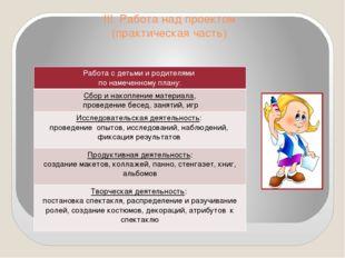 III. Работа над проектом (практическая часть) Работа с детьми и родителями по