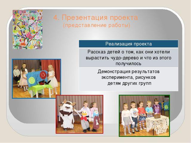 4. Презентация проекта (представление работы) Реализацияпроекта Рассказ детей...