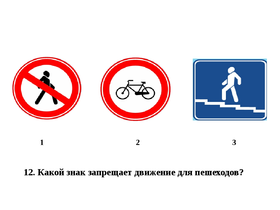12. Какой знак запрещает движение для пешеходов? 1 2 3