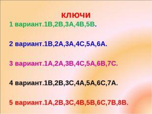 ключи 1 вариант.1В,2В,3А,4В,5В. 2 вариант.1В,2А,3А,4С,5А,6А. 3 вариант.1А,2А,