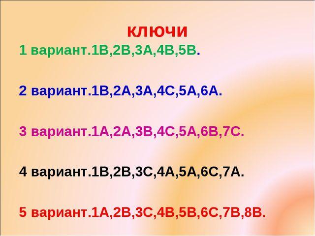 ключи 1 вариант.1В,2В,3А,4В,5В. 2 вариант.1В,2А,3А,4С,5А,6А. 3 вариант.1А,2А,...