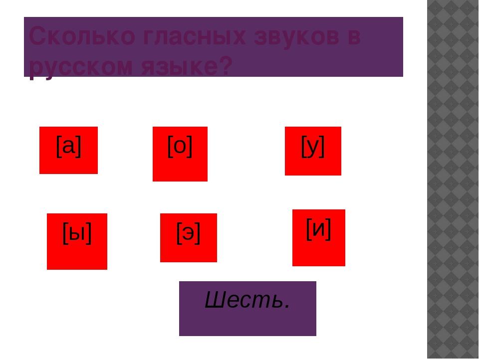 Сколько гласных звуков в русском языке? Шесть. [а] [о] [у] [ы] [и] [э]
