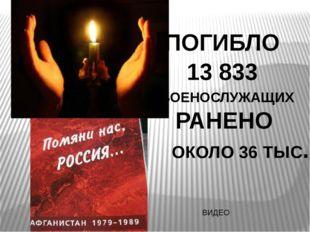 ПОГИБЛО 13 833 РАНЕНО ОКОЛО 36 ТЫС. ВОЕНОСЛУЖАЩИХ ВИДЕО