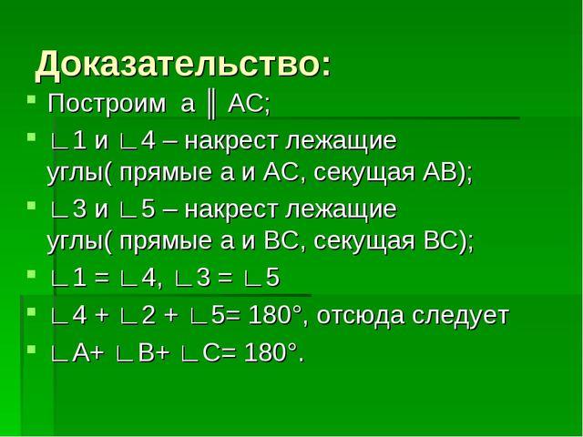 Доказательство: Построим а ║ АС; ∟1 и ∟4 – накрест лежащие углы( прямые а и А...