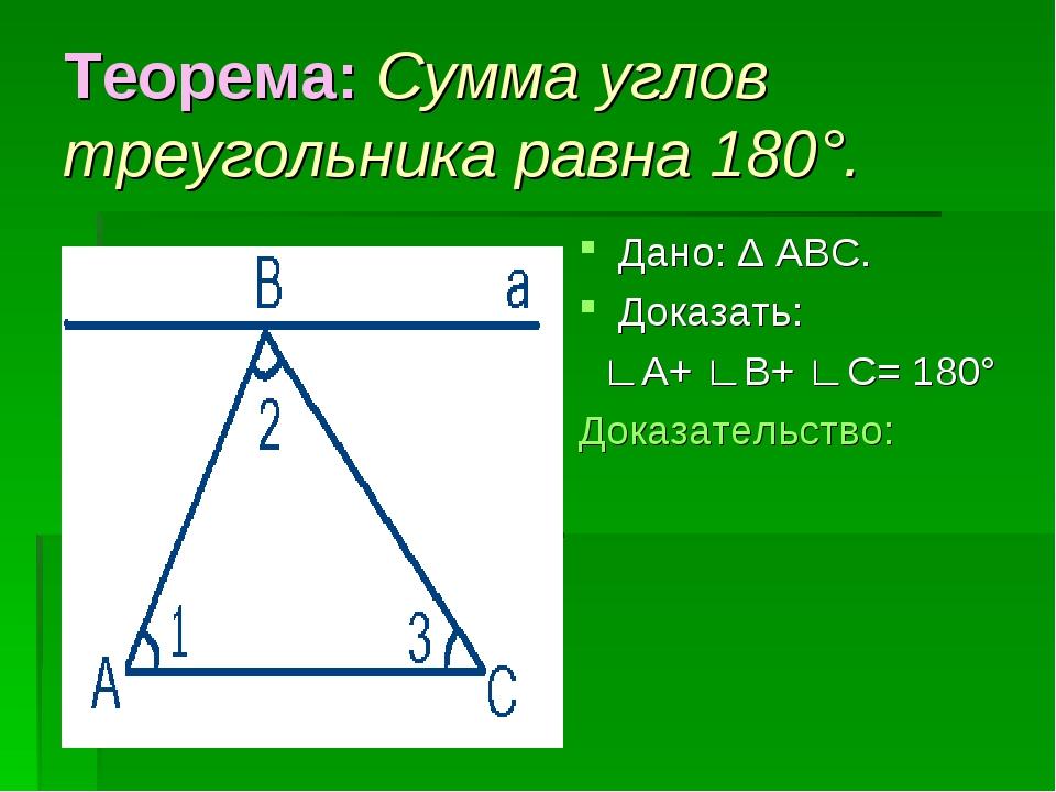 Теорема: Сумма углов треугольника равна 180°. Дано: Δ АВС. Доказать: ∟А+ ∟В+...