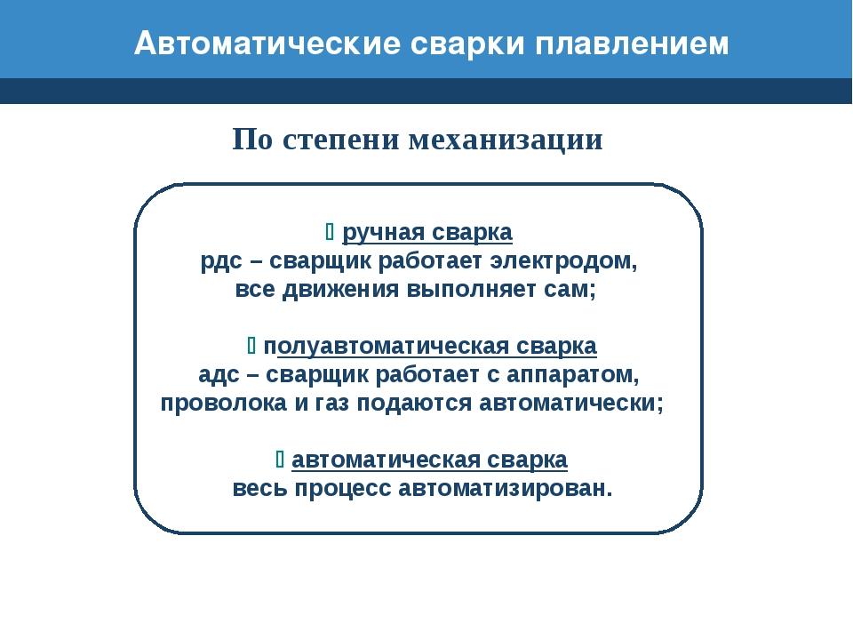 Автоматические сварки плавлением По степени механизации ручная сварка рдс –...