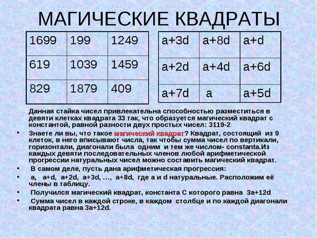МАГИЧЕСКИЕ КВАДРАТЫ Данная стайка чисел привлекательна способностью разместит...