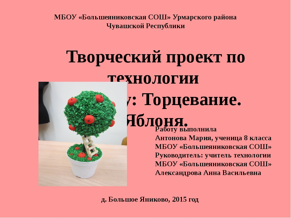 МБОУ «Большеяниковская СОШ» Урмарского района Чувашской Республики Творческий...