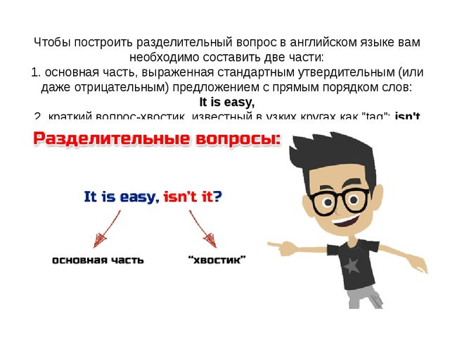 Чтобы построитьразделительный вопрос в английском языкевам необходимо соста...