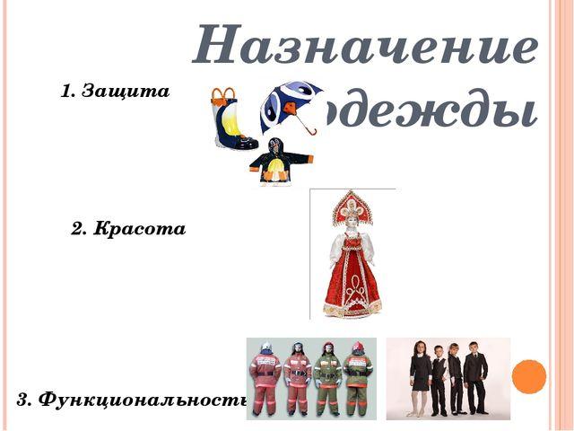 Назначение одежды 1. Защита 2. Красота 3. Функциональность