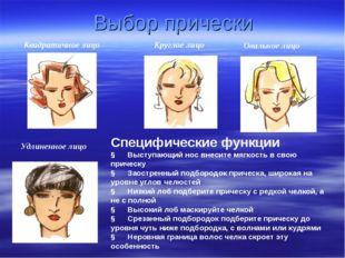 Выбор прически Квадратичное лицо Круглое лицо Овальное лицо Удлиненное лицо С