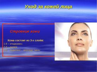 Уход за кожей лица Строение кожи Кожа состоит из 3-х слоёв: 1-й – эпидермис;