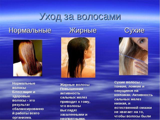 Уход за волосами Нормальные Жирные Сухие Жирные волосы Повышенная активность...