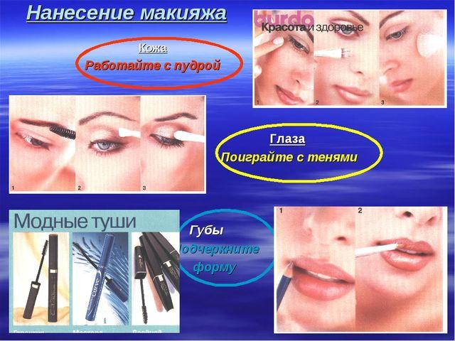 Нанесение макияжа Кожа Работайте с пудрой Глаза Поиграйте с тенями Губы Подче...