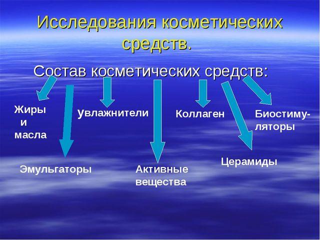 Исследования косметических средств. Состав косметических средств: