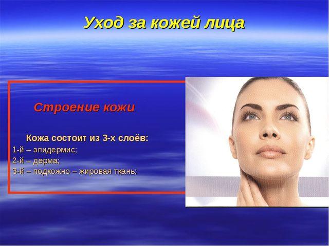 Уход за кожей лица Строение кожи Кожа состоит из 3-х слоёв: 1-й – эпидермис;...