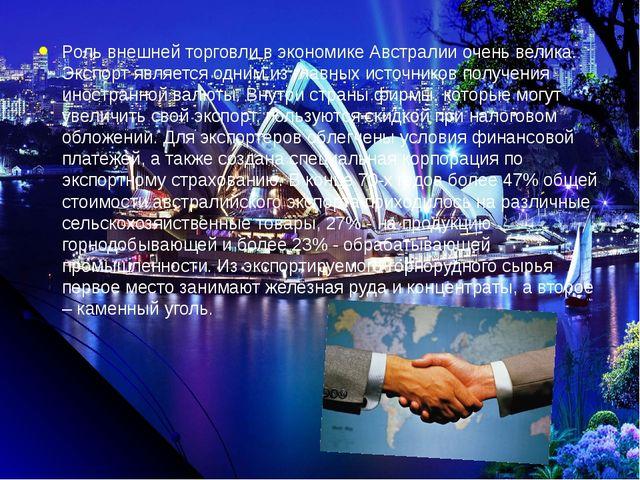 Роль внешней торговли в экономике Австралии очень велика. Экспорт является о...