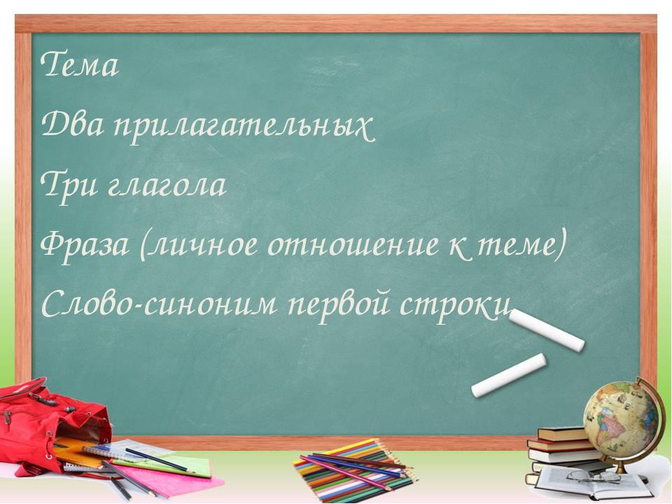 Тема Два прилагательных Три глагола Фраза (личное отношение к теме) Слово-син...