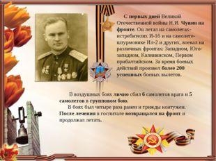 С первых дней Великой Отечественной войны Н.И.Чувинна фронте. Он летал на