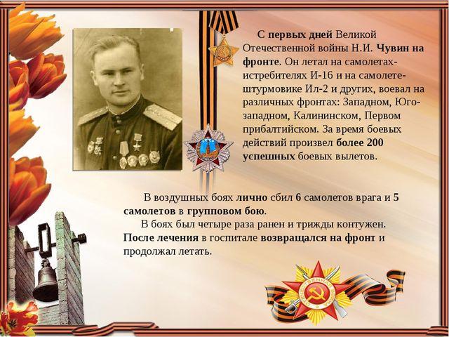 С первых дней Великой Отечественной войны Н.И.Чувинна фронте. Он летал на...