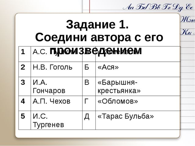 Задание 1. Соедини автора с его произведением 1 А.С.Пушкин А «Хамелеон» 2 Н.В...