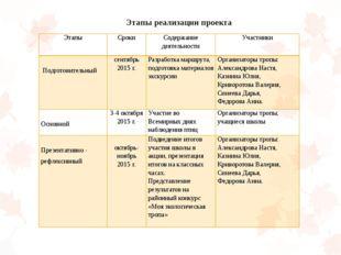 Этапы реализации проекта Этапы Сроки Содержание деятельности Участники  Подг