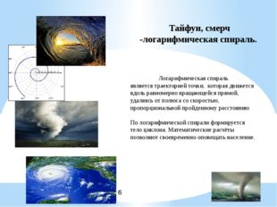 Тайфун, смерч -логарифмическая спираль. Логарифмическая спираль является трае