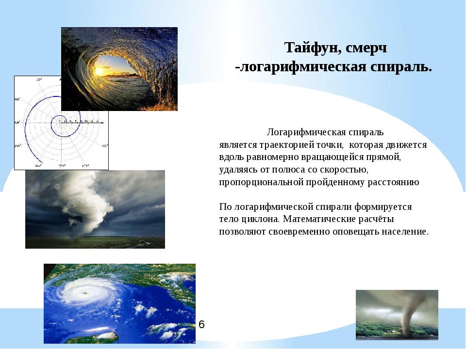 Тайфун, смерч -логарифмическая спираль. Логарифмическая спираль является трае...