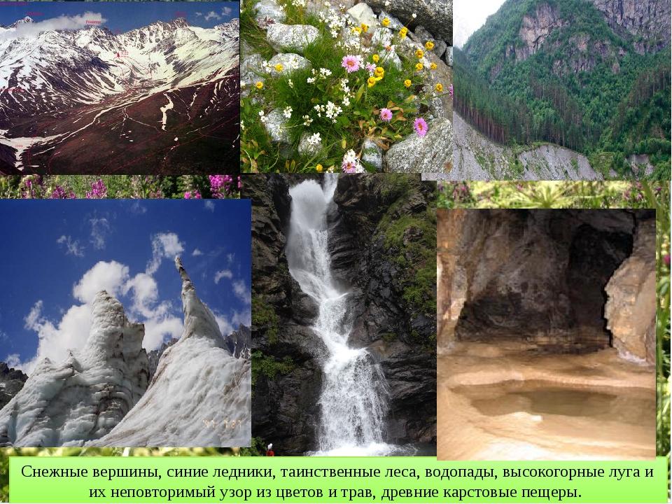Снежные вершины, синие ледники, таинственные леса, водопады, высокогорные луг...