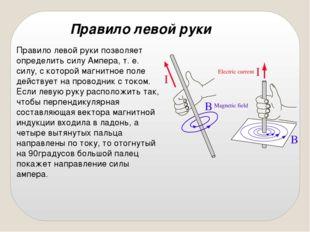 Правило левой руки позволяет определить силу Ампера, т. е. силу, с которой ма