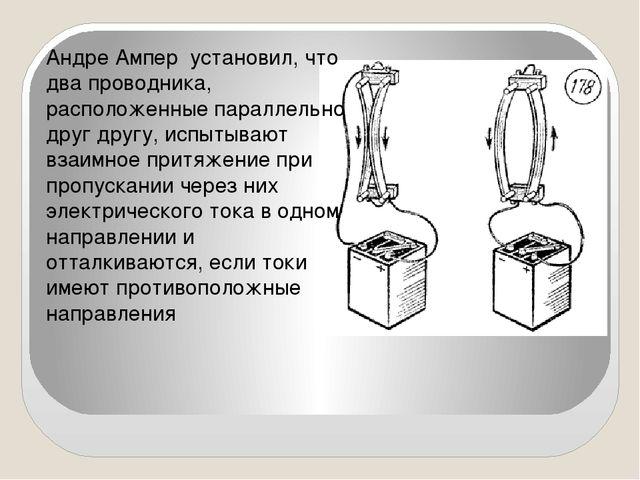 Андре Ампер установил, что два проводника, расположенные параллельно друг дру...
